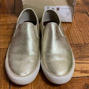 Burberry shiny gold slip on shoes